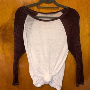 White Abercrombie & Fitch Baseball Tee